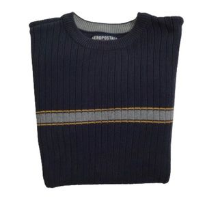 Aeropostale Blue Ribbed Knit Crewneck Sweater M